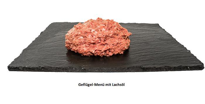 Barf Geflügel-Menü mit Lachsöl